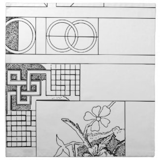 Abstract TextielOntwerp met Bloemen en Vormen Katoenen Servet