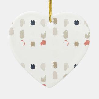 Abstract vormenpatroon in pastelkleuren 3 keramisch hart ornament