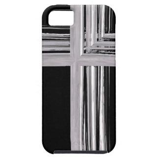 Abstract Zilveren Christelijk Kruis Tough iPhone 5 Hoesje