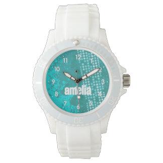 Abstracte aquawintertaling genummerd het horloge