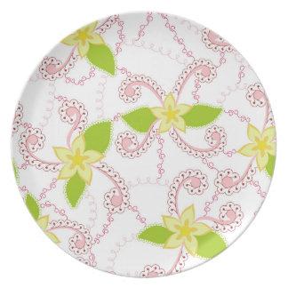 Abstracte bloem kleurrijk op wit bord