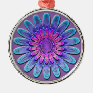 Abstracte bloem zilverkleurig rond ornament