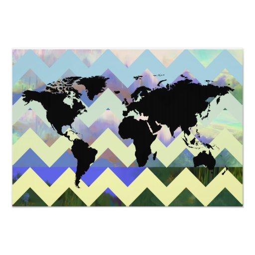 abstracte chevron kaart-van-de-wereld foto afdruk