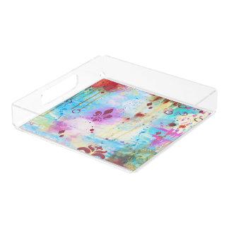 Abstracte Fleur DE Lis Artistic Blauw Roze Koper Acryl Dienblad