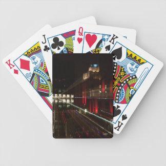 Abstracte fotospeelkaart, hoog gebouw poker kaarten