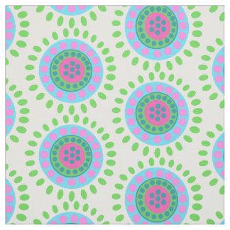 Abstracte groenachtig blauwe en roze bloemen stof
