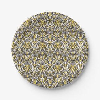 Abstracte hand getrokken patroon. Gele witte kleur Papieren Bordje