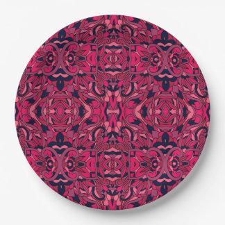 Abstracte hand getrokken patroon. Paarse roze Papieren Bordje