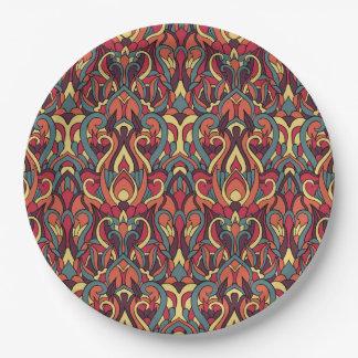 Abstracte hand getrokken patroon. Retro kleuren Papieren Bordje