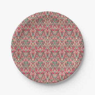 Abstracte hand getrokken patroon. Roze kleur Papieren Bordje