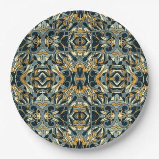 Abstracte hand getrokken patroon. Zwarte en gouden Papieren Bordje