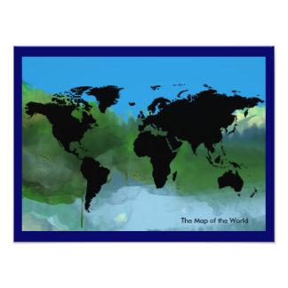 abstracte kaart van de wereld fotografische afdruk