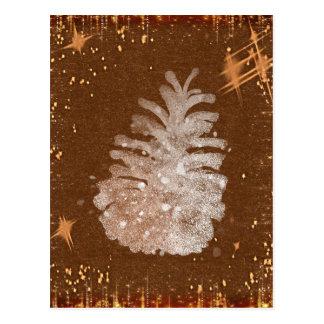 Abstracte Kerstmis Pinecone Briefkaart