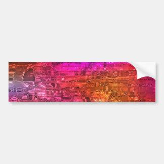 Abstracte Kunst, Paars Oranje Roze Bumpersticker