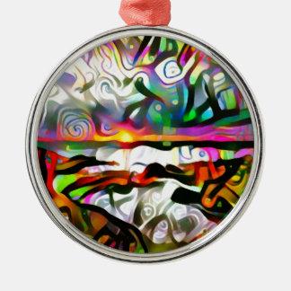 Abstracte kust zilverkleurig rond ornament