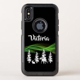 Abstracte noordelijke lichten met bos en het wild OtterBox commuter iPhone x hoesje