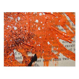 Abstracte Oranje Verf Briefkaart