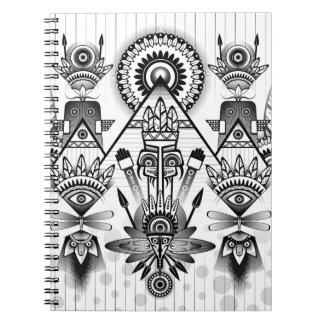 Abstracte Oude Inheemse Indische Stammen Ringband Notitieboek