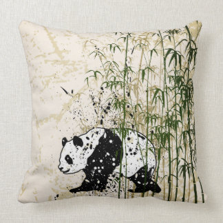 Abstracte panda in bamboebos sierkussen