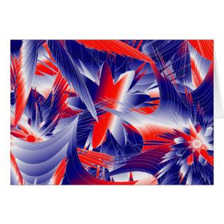 Abstracte Rode Wit en Blauw Notitiekaart