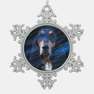 Abstracte tricolor Basset Hound Tin Sneeuwvlok Ornament