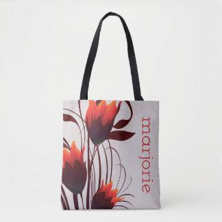 Abstracte Tulpen in Rood, Zwart en Bruin op Taupe Draagtas