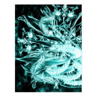 abstracte vlinders en acacia verticaal briefkaart