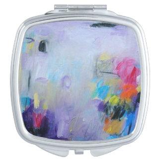 Abstracte waterverfdruk op ladershub make-up spiegel