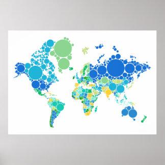abstracte wereldkaart met kleurrijk stip poster