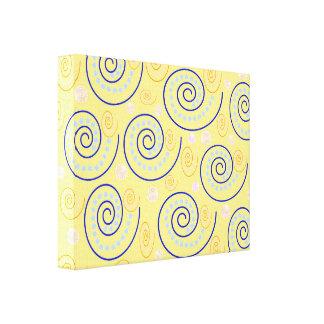 Abstracte Wervelingen op Geel Stretched Canvas Afdruk