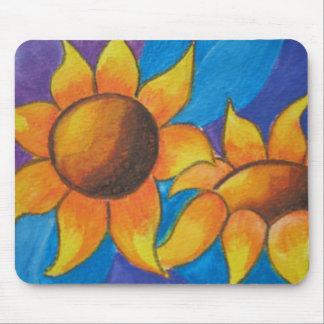 Abstracte Zonnebloemen die Mousemat schilderen Muismat