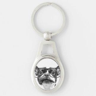 Achtenswaardige Franse Buldog met Glazen Zilverkleurig Ovalen Sleutelhanger