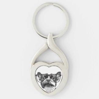 Achtenswaardige Franse Buldog met Glazen Zilverkleurige Hart Sleutelhanger