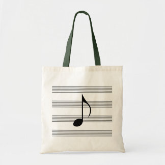 Achtste noot op muziekpersoneel/muzikale draagtas