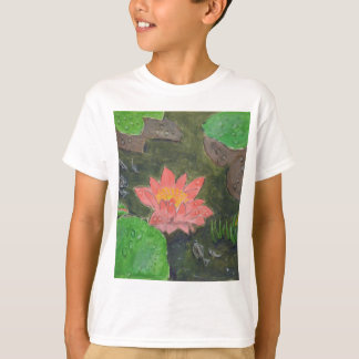 Acryl op canvas, roze waterleliebloem t shirt