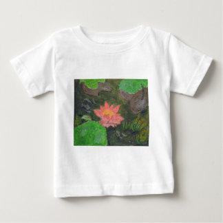 Acryl op canvas, roze waterlily en groene bladeren baby t shirts
