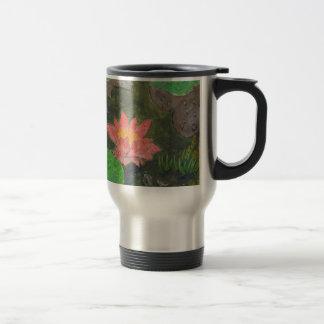 Acryl op canvas, roze waterlily en groene bladeren reisbeker