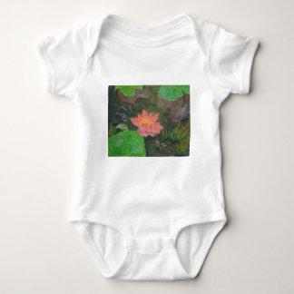 Acryl op canvas, roze waterlily en groene bladeren romper