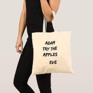 Adam, probeert de appelen. Het Canvas tas van de