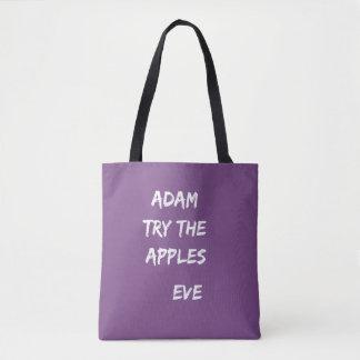 Adam, probeert de appelen. Het Paarse Canvas tas
