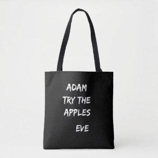 Adam, probeert de appelen. Het Zwarte Canvas tas
