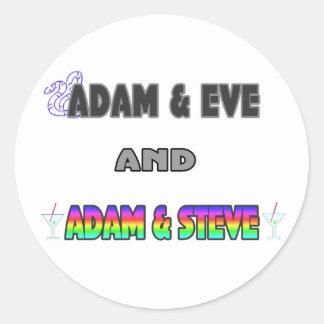Adam & Vooravond & Adam & Steve Ronde Sticker