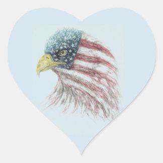 adelaar, adelaar met Amerikaanse vlag Hart Sticker