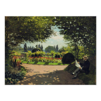 Adolphe Monet Reading in de Tuin - Claude Monet Poster