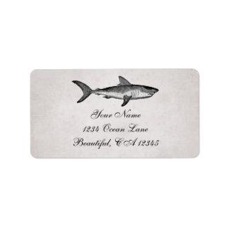 Adres van het Strand van de vintage Haai het Etiket