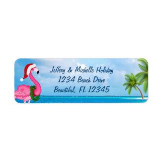 Adres van het Strand van Kerstmis van de Flamingo Etiket