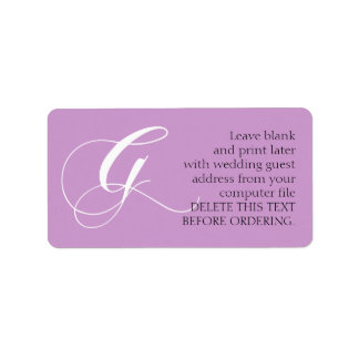 Adresetiket van het Huwelijk van G het Lila | van Etiket