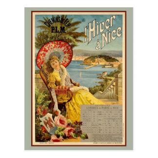 Advertentie van de de winterreis van vintage Nice Briefkaart