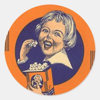 Adverteren de Vintage Popcorn van de sticker Retro