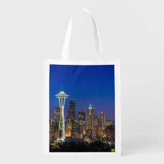 Afbeelding van de Horizon van Seattle in Herbruikbare Boodschappentas